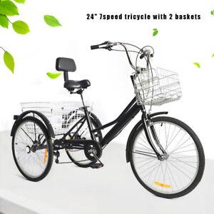"24"" 7-Speed Adult Tricycle 3-Wheel Bicycle Cargo Cruiser Trike + Shopping Basket"