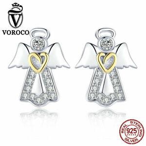 Voroco 925 Sterling Silver Angel Earrings Charm CZ Women Bead Bracelet Necklace