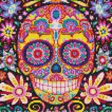 "Cross Stitch Chart - SUGAR SKULL - 7.5""x7.5"" (19x19cm)"