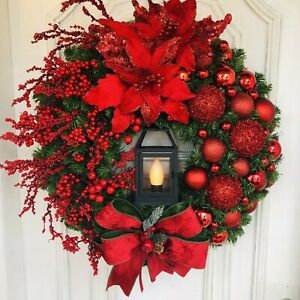 Christmas Garland Wreath With Candle Lights And Window Front Decorations Hanging