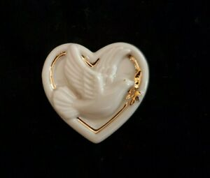 "Lenox Heart Pin Brooch Peace Dove Cream Gold Porcelain 1.25"""