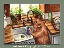 HAMSTER HOMEMAKERS Doing Dishes ACEO Art Limited Edition Sketch Card Print