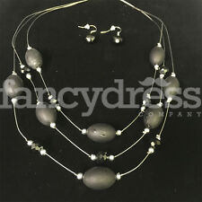 Ladies Matt Black Silver Beaded Necklace Earrings Set Costume Jewellery NEW Gift