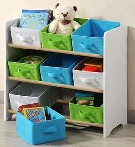 Kesper Bedroom Kids Storage Shelf 9 Fabric Baskets, White Green Blue