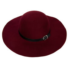 Burgundy Women Wool Felt Belt Wide Brim Fedora Bowler Hat Floppy Cloche Cap