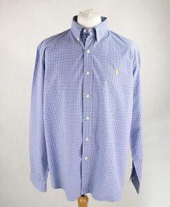 Mens RALPH LAUREN Slim Fit Long Sleeve Button-up Shirt Size XXL Checked Blue
