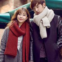 NE_ Women Men Winter Warm Coarse Knit Scarf Long Wool Shawl Thick Neck Scarves