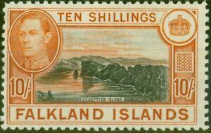 Falklands Islands 1938 10s Black & Orange-Brown SG162 Fine Very Lightly Mtd Mint