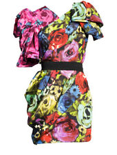 New! Lanvin H&M Multicolored Floral Puff Sleeve Cocktail Dress US 8 EUR 38 UK 10