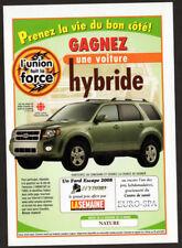 2008 FORD Escape Original Print AD Silver SUV photo French Canada contest Hybrid