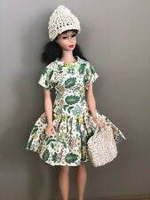 1960's Barbie Doll Clone, Mommy Made Hand Made Dress with Knit Hat & Purse