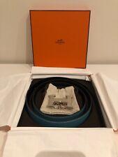 Authentic Hermes H Belt Buckle & Reversible Black/Blue Leather 32mm Size 85