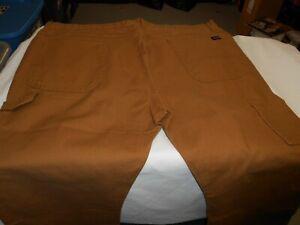 Mens DICKIES BROWN CANVAS DENIM STRETCH CARPENTER jeans 42 x 30  NWOT