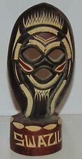 Swaziland African Tribal hand carved figurine mask wooden small souvenir
