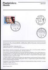 ITALIA 2011 GIORNATA DELLA DONNA  BOLLETTINO COMPLETO DI FRANCOBOLLI ANNULLO FDC