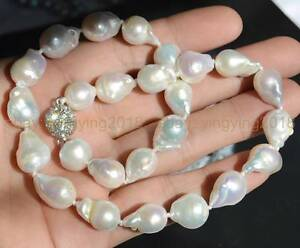 """REAL AAA+ SOUTH SEA WHITE BAROQUE PEARL NECKLACE 18"""" Rhinestone Magnet Clasp"""