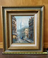 VTG Oil Painting Original Signed M. Sandon, On Art Board Parisian Scene, Framed