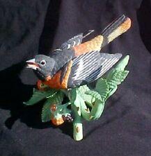 Lenox - Baltimore Oriole -Orange & Black Bird Figurine w Green Leaves & Berries