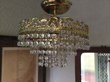 Vintage Cut Crystal Droplets & Gold Ornate Tiered Chandelier Ceiling Light #6260