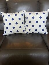 1 Pair Cotton 18 x18 Square Polka Dot Blue & White Pillow Covers Home Decorative
