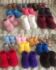 Crochet Baby Booties Newborn Unisex 0-3 months Multi Colors available. Handmade