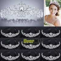 10 x Wedding Bridal Princess Crystal Prom Hair Tiara Crown Veil Headband w/ Comb