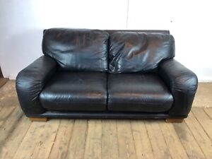 Black Real Leather 2 Seater Sofa with Wooden Feet
