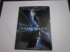 * Unbreakable- Bruce Willis Movie media Press kit- 8x10 photos, Bios,cast