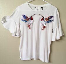 Womens White Ruffle Bell Sleeve SS Blouse Shirt Small Bird Embroidered Buffalo