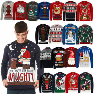 Mens Christmas Jumper Funny Novelty Xmas Pullover Sweater Knitted Santa Reindeer