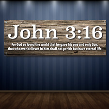 John 3:16 1' X 3' Garage Banner, 13oz Vinyl - FREE SHIPPING Christian Jesus New