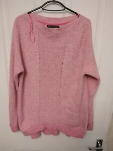 PREOWNED LADIES MARKS AND SPENCER LONGSLEEVE JUMPER BRIGHT PINK MEDIUM