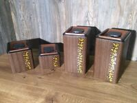 Kromex Mid Century Canister Set Of 4 Faux Wood Grain Tin with Copper Top J10