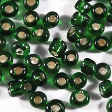 Perles de Rocailles en verre Trou Argenté 4mm Vert Foncé 20g (6/0)