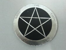 REAL LEATHER COASTER WITH SILVER BLOCKED PENTAGRAM