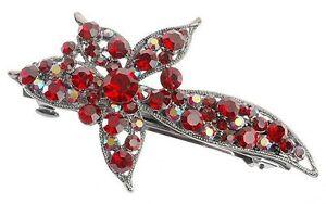 Debenhams Siam Red Starburst Flower Hairclip Clip Barrette W/ Swarovski Crystals