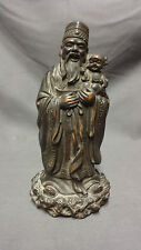 Unusual Vintage Chinese Figure Of A Man With Child - Bronze Finish