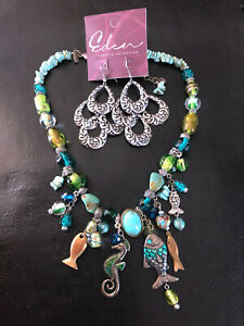 Chicos Necklace Beach Nautical Turquoise Art Glass Blue Green + Earrings C116
