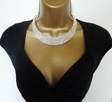 """Gorgeous Dusky Pink Multi Chain Choker Necklace 20-23/"""" in Length Gold Tone"""