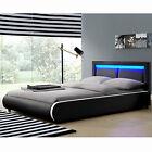 Design en Cuir+LED Lit+Sommier Double 140 ou 180 x200 bed BLANC NOIR ou GRIS