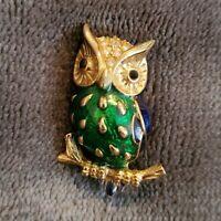 Vintage SPHINX gold tone enamel owl brooch Pin