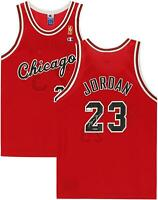 Michael Jordan Chicago Bulls Autographed Red Champion Jersey JSA