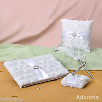 New White Flora Rose Wedding Ceremony Satin Guest Book Pen Ring Pillow GB28-bc