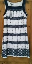 LADIES LAURA ASHLEY NAVY AND WHITE LINEN DRESS SIZE 12 EUR 38 BNWT RRP  £95