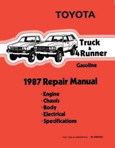 1987 Toyota 4-Runner & Truck Shop Service Repair Manual Book Engine Drivetrain
