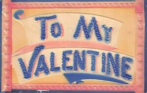 """Embossed Airbrush Antique Valentine """"TO MY VALENTINE"""" pink blue hearts scroll"""