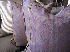 "FORTUNY ""ORSINI"" Pillow Cover 20x20 Blush Purple, Gold Metallic Gimp Mohair"