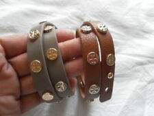 NEW AUTH TORY BURCH WOMENS SET OF 2 BRACELETS LATHER TAN/GRAY SQUIRREL