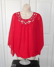 AB STUDIO Womens Red Bubble Hem Crochet Neckline Body Lined Chiffon Top Size M