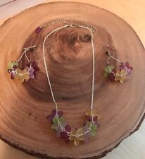 Orna Lalo Necklace Earrings Set Flowers Green Yellow Pink Purple Silver Chain